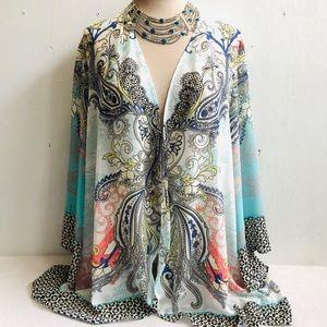 Soft Surroundings Muse Boho Print Kimono Topper